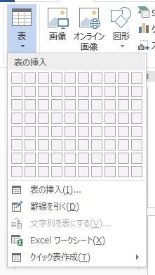 ワードで表の挿入
