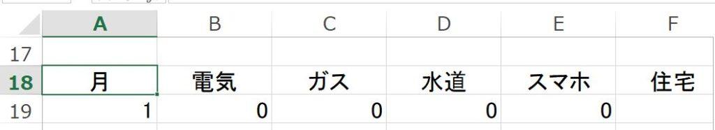 18~R18のセルを中央揃えにします。
