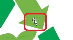 マウスポインタが十字の矢印になった時ドラッグ
