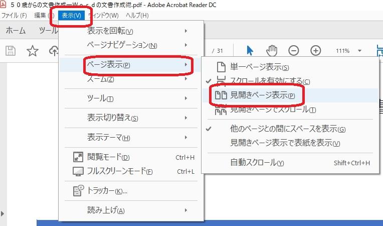 表示タブからページ表示の見開きページ表示
