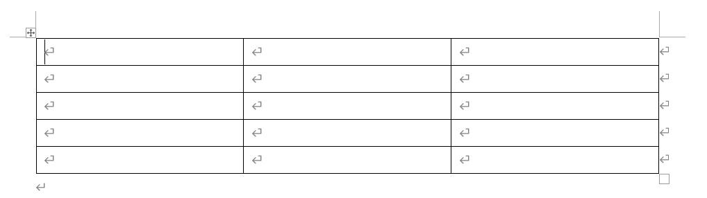 Word2019枠を選んでクリックすると、表が挿入されます。