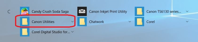 表示された中から、【Canon Utilities】をクリックします