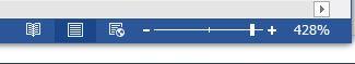 Wordの画面の下に「ズームスライダー」があります。