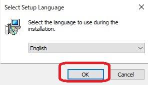 【English】と表示されますが、ここでは無視して【OK】をクリックします。