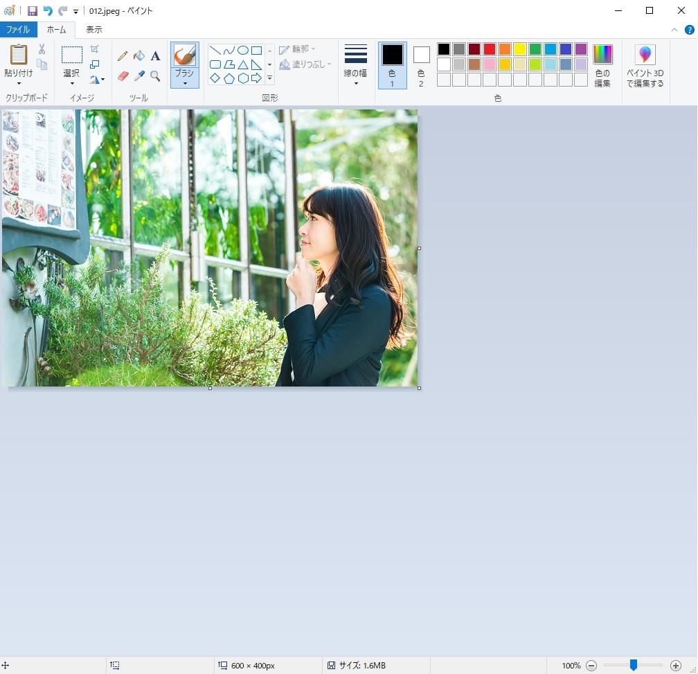 一つに合わせる写真も同様に右クリックしてペイントで開きます。最初の写真とサイズを合わせるために同じ縮小で小さくします